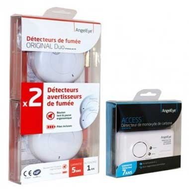 ANGELEYE Lot de 2 détecteurs avertisseurs autonomes de fumée + 1 détecteur de monoxyde de carbone