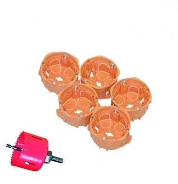 CAPRI Capriclips Lot de 5 boites encastrement simples pour cloison sèche D67 + scie cloche - CAP736905