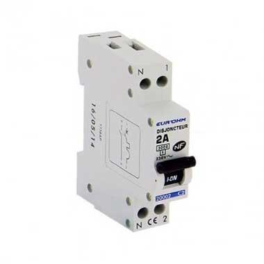 EUROHM Disjoncteur 2A Ph+N courbe C 3kA 230V - 20002