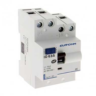 EUROHM Interrupteur différentiel 63A 30mA type AC 3 modules 230V - 23263