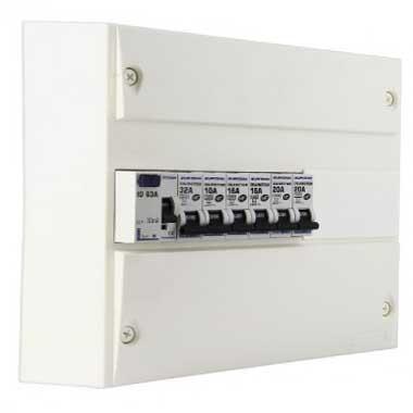 EUROHM Tableau électrique prééquipé 1 rangée 1ID 63A 6 disjoncteurs