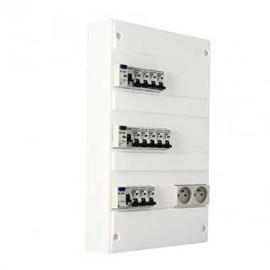 EUROHM Tableau électrique prééquipé 3 rangées 3ID 63A 12 disjoncteurs
