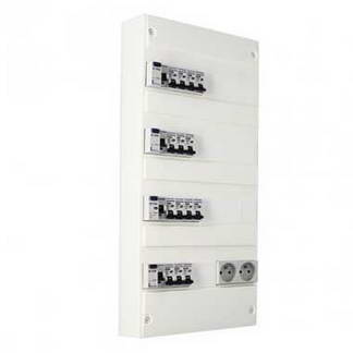 EUROHM Tableau électrique prééquipé 4 rangées 2ID 63A 2ID 40A 14 disjoncteurs
