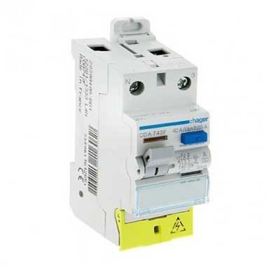 HAGER Interrupteur différentiel 40A 30mA type A 230V - CDA743F