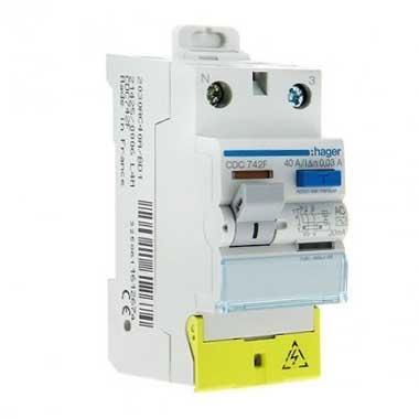 HAGER Interrupteur différentiel 40A 30mA type AC 230V - CDC742F