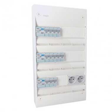 HAGER Gamma Tableau électrique prééquipé auto 3 rangées 3ID 63A 12 disjoncteurs