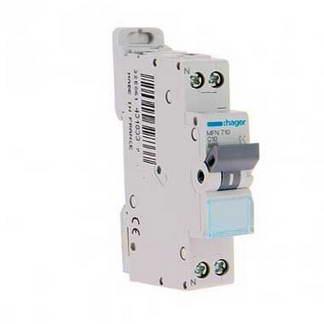HAGER Disjoncteur 10A Ph+N calibre C 3kA 230V - MFN710