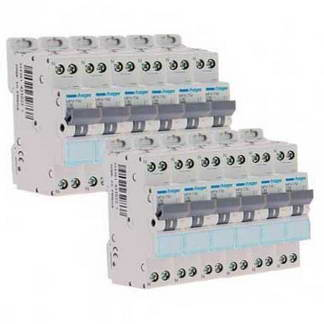 HAGER Lot de 12 disjoncteurs 10A Ph+N calibre C 3kA 230V - MFN710