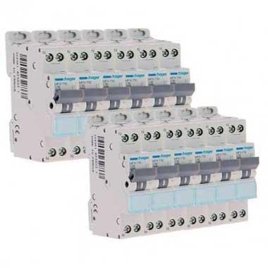 HAGER Lot de 12 disjoncteurs 10A Ph+N calibre C 3kA 230V - MFN710