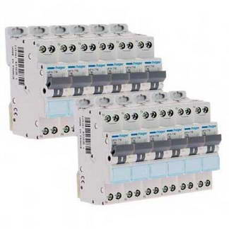 HAGER Lot de 12 disjoncteurs 16A Ph+N calibre C 3kA 230V - MFN716