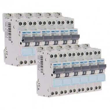 HAGER Lot de 12 disjoncteurs 20A Ph+N calibre C 3kA 230V - MFN720