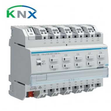 HAGER KNX Actionneur de commutation 10 sorties multifonctions 10A - TXA610B