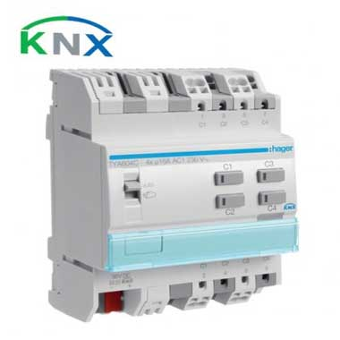 HAGER KNX Actionneur de commutation 4 sorties multifonctions 16A - TYA604C