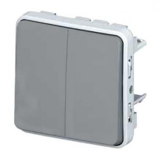 LEGRAND Plexo Interrupteur double va et vient étanche composable encastré gris IP55 - 069525