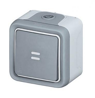 LEGRAND Plexo Interrupteur va et vient à voyant lumineux étanche complet gris IP55 - 069713