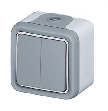 LEGRAND Plexo Interrupteur double va et vient étanche complet gris IP55 - 069715