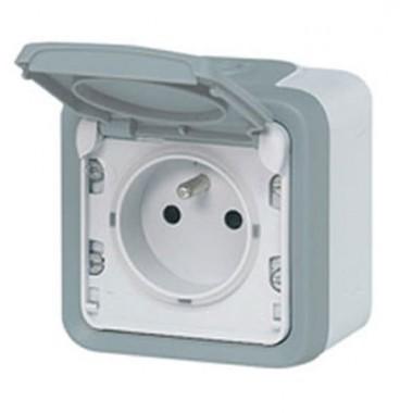 LEGRAND Plexo Prise de courant 2P+T étanche complet gris IP55 - 069731