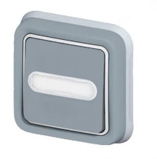 LEGRAND Plexo Bouton poussoir lumineux porte étiquette étanche encastré gris IP55 - 069824