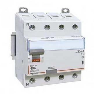 LEGRAND DX3 Interrupteur différentiel tétrapolaire 40A 30mA type AC 4 modules 400V - 411661