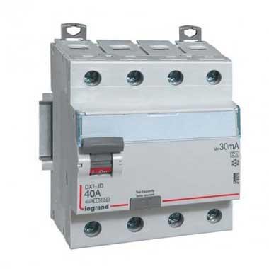 LEGRAND DX3 Interrupteur différentiel tétrapolaire 40A 30mA type A 4 modules 400V - 411675