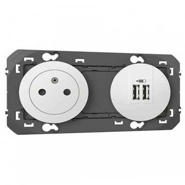LEGRAND Dooxie Prise de courant surface et prise USB double 3000mA blanc - 6000342