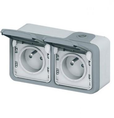 LEGRAND Plexo Double prise de courant 2P+T horizontale étanche complet gris IP55