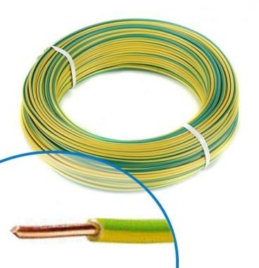 Fil électrique rigide H07VU 1.5² vert / jaune - Couronne de 100m