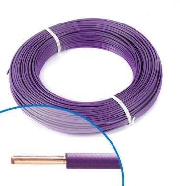 Fil électrique rigide H07VU 1.5² violet - Couronne de 100m