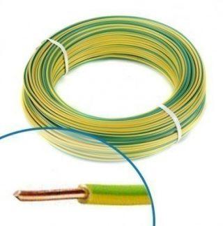Fil électrique rigide H07VU 2.5² vert / jaune - Couronne de 100m