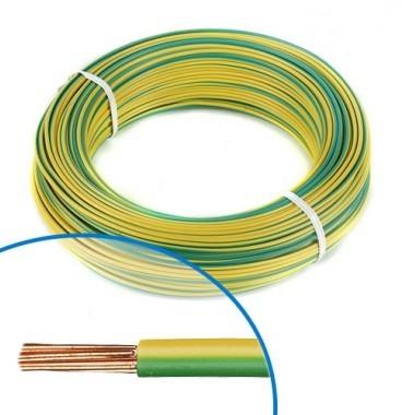 Fil électrique rigide H07VR 6² vert / jaune NEXANS - Couronne de 100m