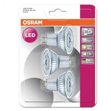 OSRAM Lot de 3 spots LED PAR16 GU10 36° 230V 2,6W(=35W) 230lm 2700°K