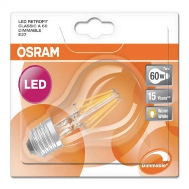 OSRAM Ampoule LED filament dimmable E27 230V 6,5W(=60W) 806lm 2700°K standard
