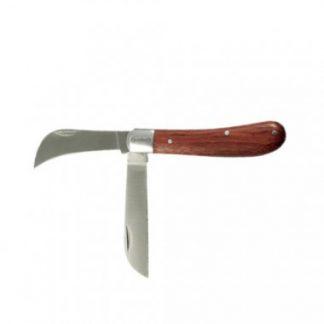 E-ROBUR Couteau d'électricien 2 lames manche en bois - 424005