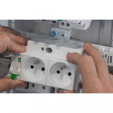 SCHNEIDER Resi9 XE Double Prise modulaire 2P+T combinée 16A auto 6 modules - R9ECS616