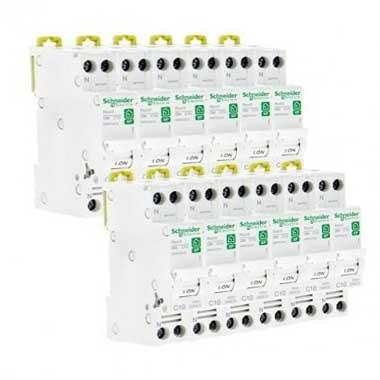 SCHNEIDER Resi9 XP Disjoncteur 10A Ph+N courbe C 3kA 230V - Lot de 12 R9PFC610