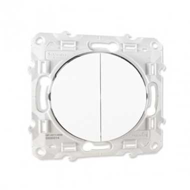 SCHNEIDER Odace Interrupteur va et vient + poussoir blanc - S520285