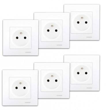 SIEMENS Delta Viva Lot de 6 prises de courant 2P+T complet blanc