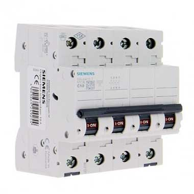 SIEMENS Disjoncteur tétrapolaire 10A courbe C 6kA 400V