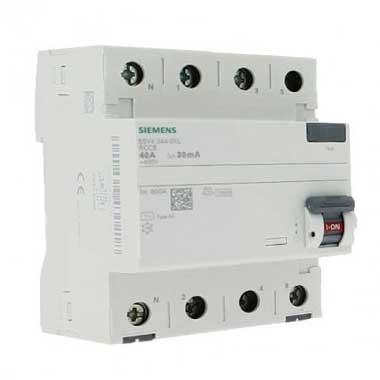 SIEMENS Interrupteur différentiel tétrapolaire 40A 30mA type AC 4 modules 400V