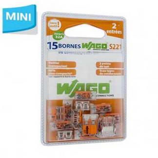 WAGO S221 15 mini bornes de connexion rapide 2 entrées pour fils souples et rigides - 221-412