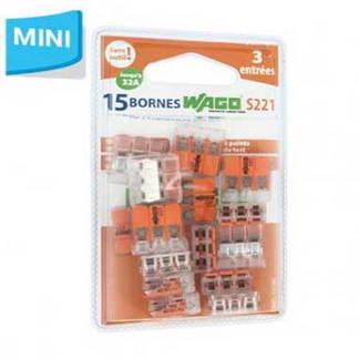 WAGO S221 15 mini bornes de connexion rapide 3 entrées pour fils souples et rigides - 221-413