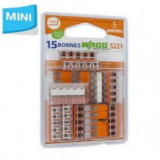 WAGO S221 15 mini bornes de connexion rapide 5 entrées pour fils souples et rigides - 221-415