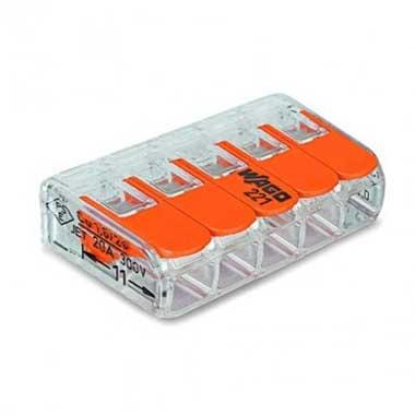 WAGO S221 40 mini bornes de connexion rapide 5 entrées pour fils souples et rigides - 221-415