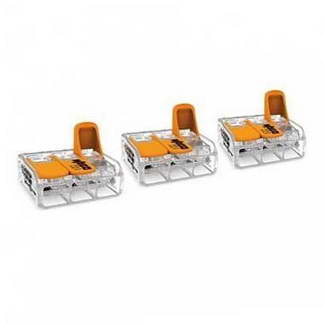 WAGO S221 3 mini bornes de connexion rapide 3 entrées fils souples et rigides 0.5 à 6mm² - 221-613