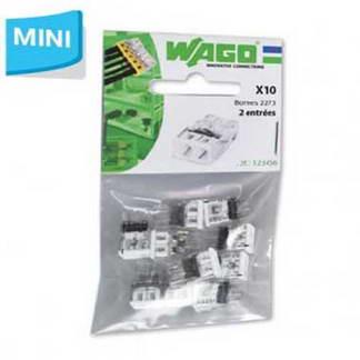 WAGO S2273 10 mini bornes de connexion rapide 2 entrées pour fils rigides - 2273-202