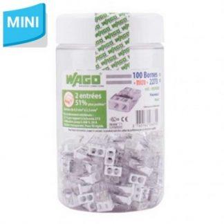 WAGO S2273 Pot de 100 mini bornes de connexion rapide 2 entrées pour fils rigides - 2273-202