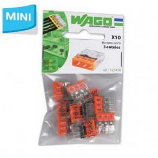 WAGO S2273 10 mini bornes de connexion rapide 3 entrées pour fils rigides - 2273-203