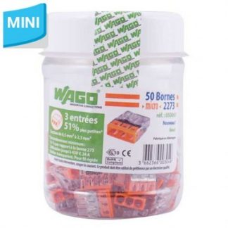 WAGO S2273 50 mini bornes de connexion rapide 3 entrées pour fils rigides - 2273-203
