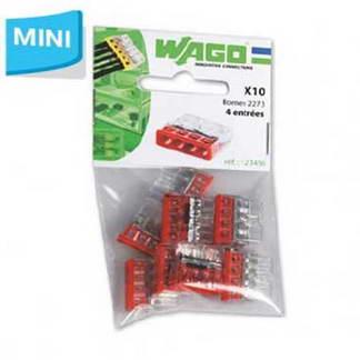 WAGO S2273 10 mini bornes de connexion rapide 4 entrées pour fils rigides - 2273-204