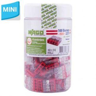 WAGO S2273 100 mini bornes de connexion rapide 4 entrées pour fils rigides - 2273-204